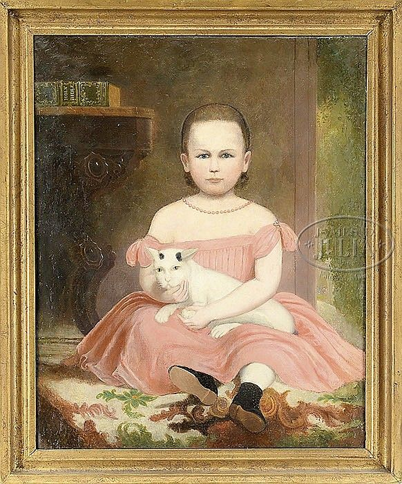 """UNSIGNED (American, Mid 19th Century) FOLK ART PORTRAIT OF A GIRL & HER CAT - Oil on canvas Housed in a gilt molded wood frame Unsigned Label on stretcher from Scholz & Janentzky, 112 So. 8th St, Phila, PA (at this location between 1861-62) SIZE: 36"""" x 29"""". Overall: 42"""" x 34-1/2""""  At auction 2/4/2014 -  Opening bid $2,000. No bids at this time"""