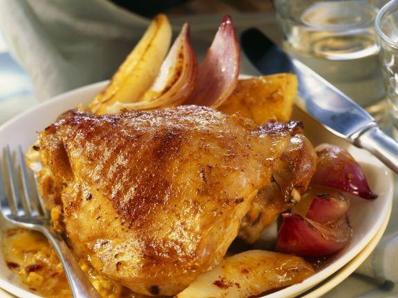 Glasierter Putenschlegel mit Obstsoße und Zwiebeln ist ein Rezept mit frischen Zutaten aus der Kategorie Pute. Probieren Sie dieses und weitere Rezepte von EAT SMARTER!