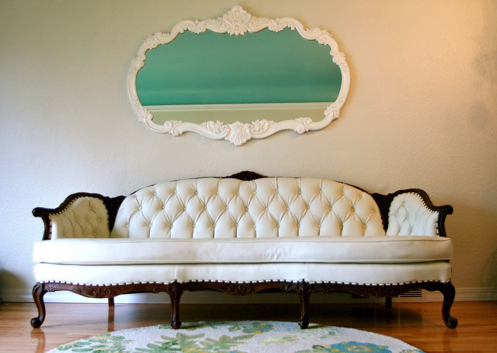 Reupholstered Pleather Sofa From A