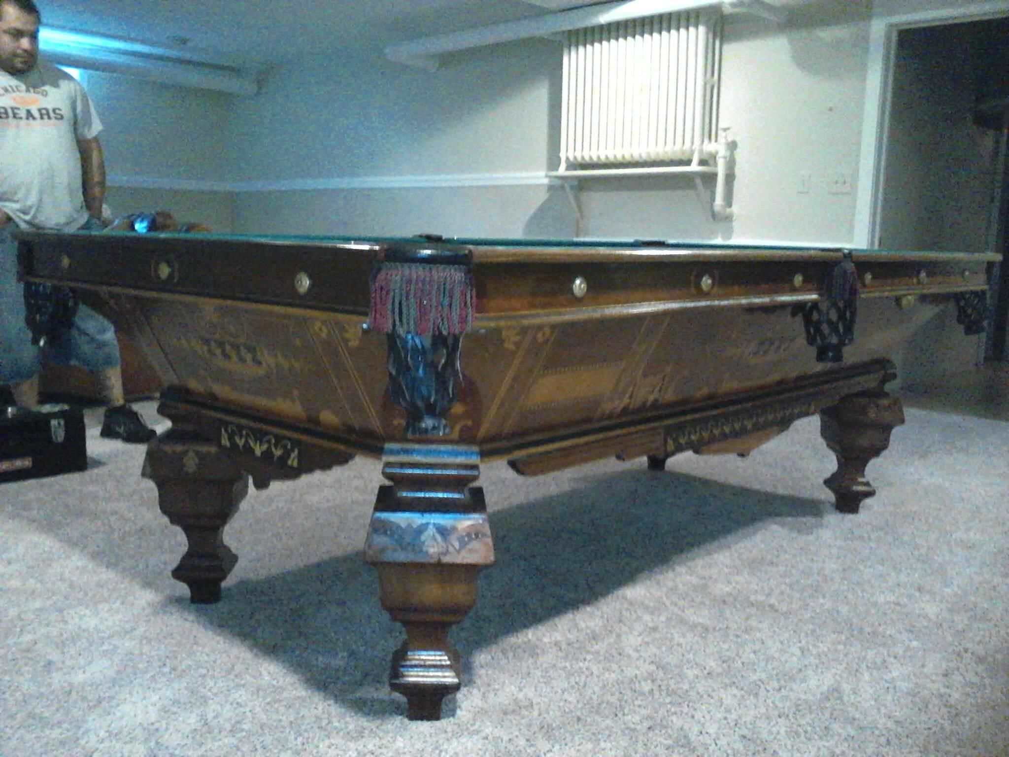 Fish tank pool table - Rare 8 Brunswick Antique Pool Table Truly A Museum Piece