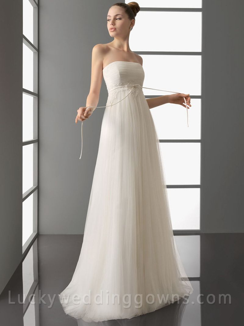 Simple strapless wedding dress with full tulle aline skirt my