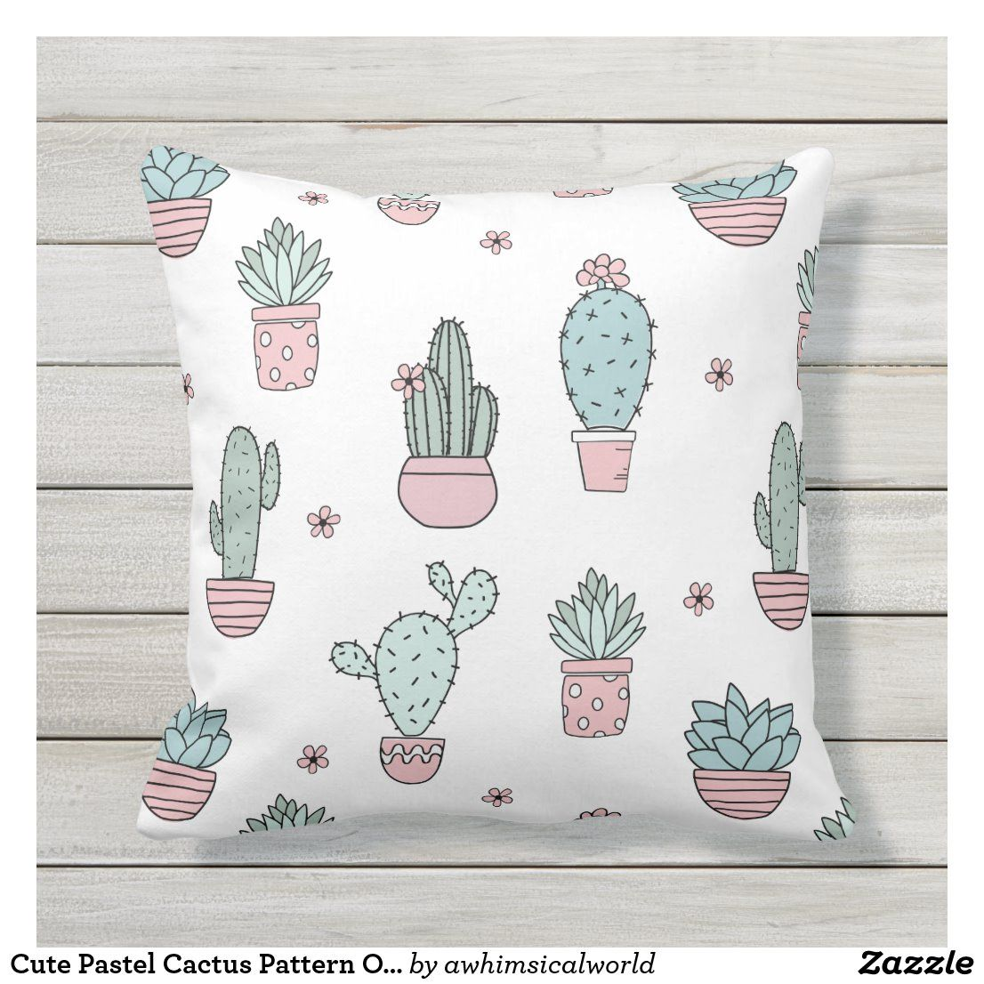 Cute Pastel Cactus Pattern Outdoor Pillow | Zazzle.com