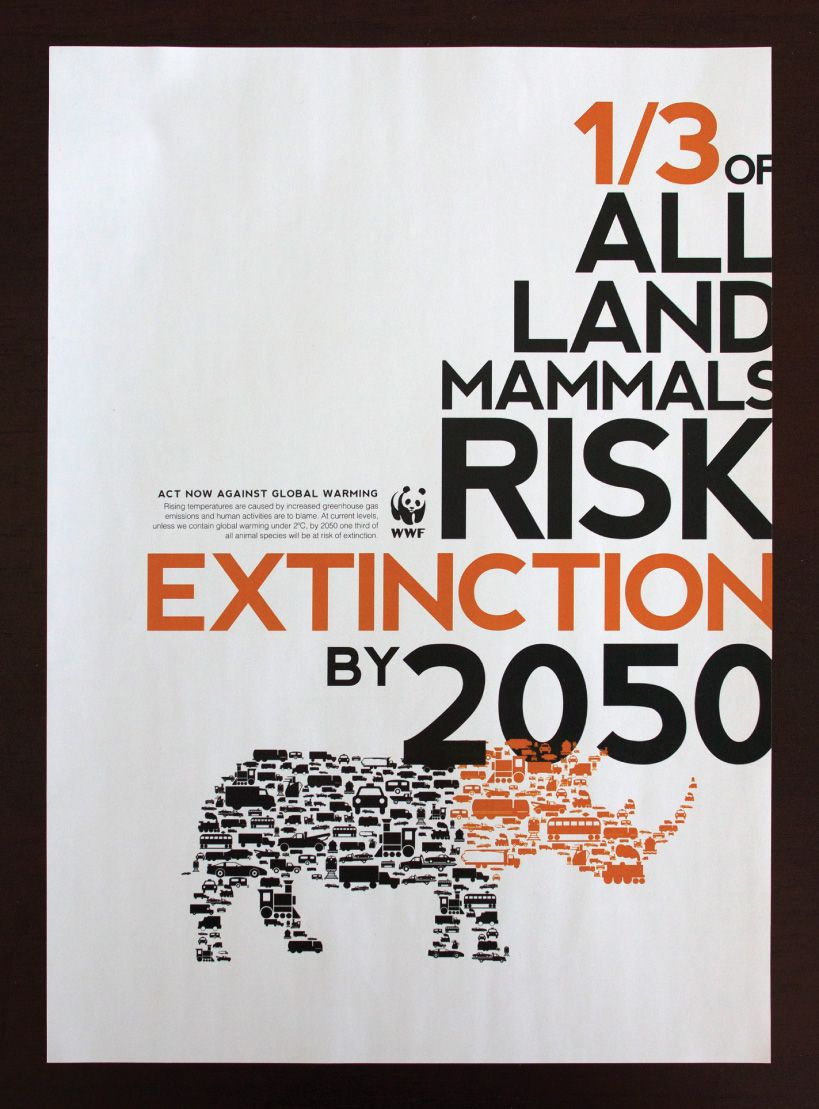 Impact Most Of The Animals We See Today And Love Will Become Extinct In Just Several Years It S Really He Climate Change Poster Wwf Poster Typographic Poster
