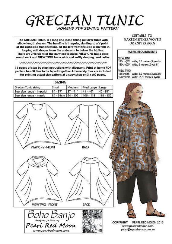 Grecian Tunic, PDF sewing pattern | Patrones de costura, Túnicas y ...