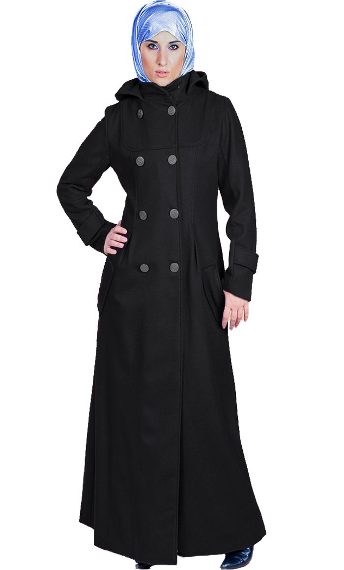 e1938642dc1af Stay extra warm in this double breasted Jacket  Abaya