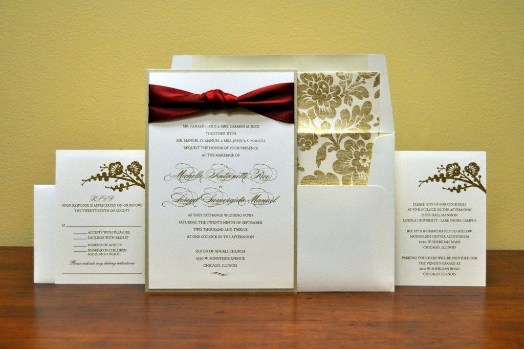 Burgundy And Gold Wedding Invitations Maroon Fl Invitation