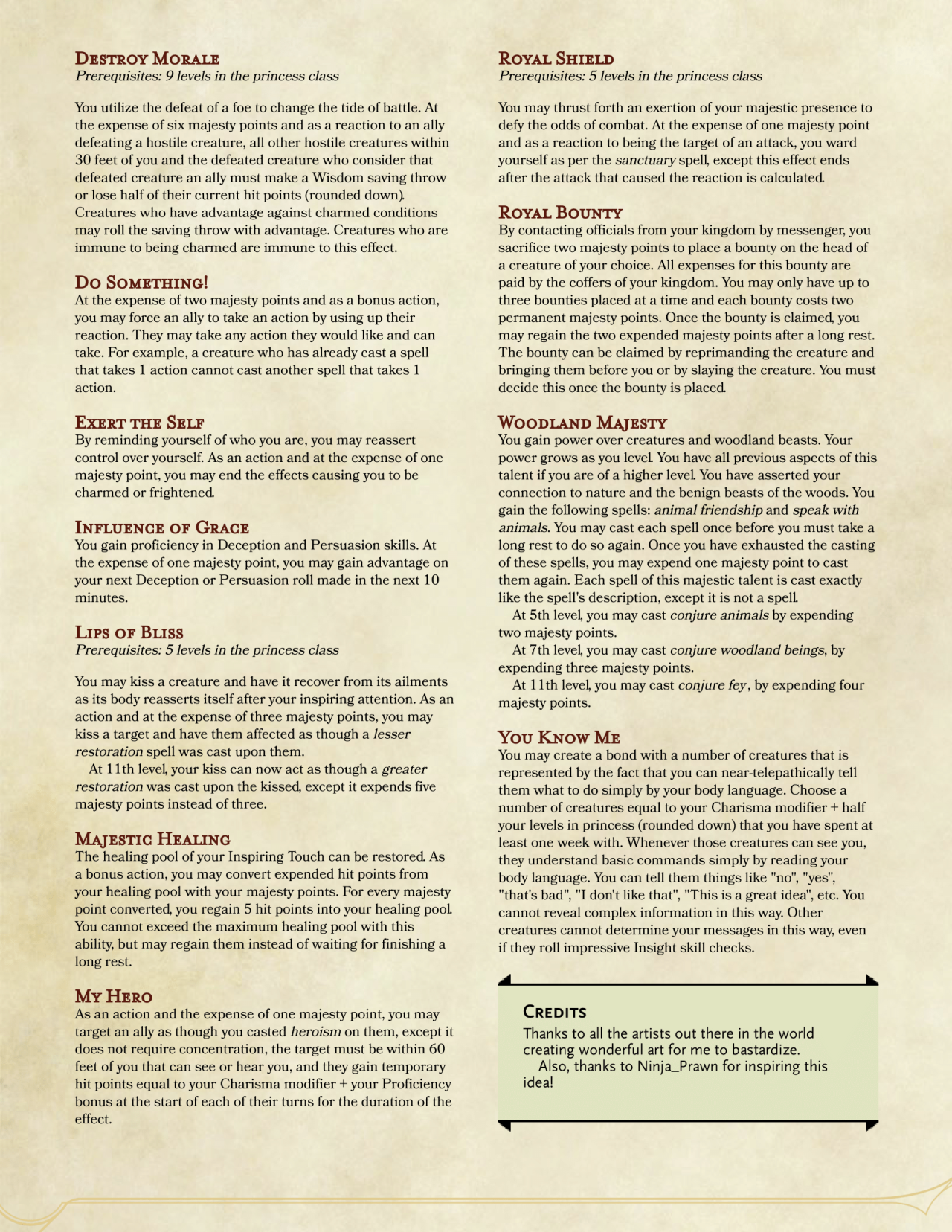 DnD 5e Homebrew — Princess Class by by impersonater | drawing in