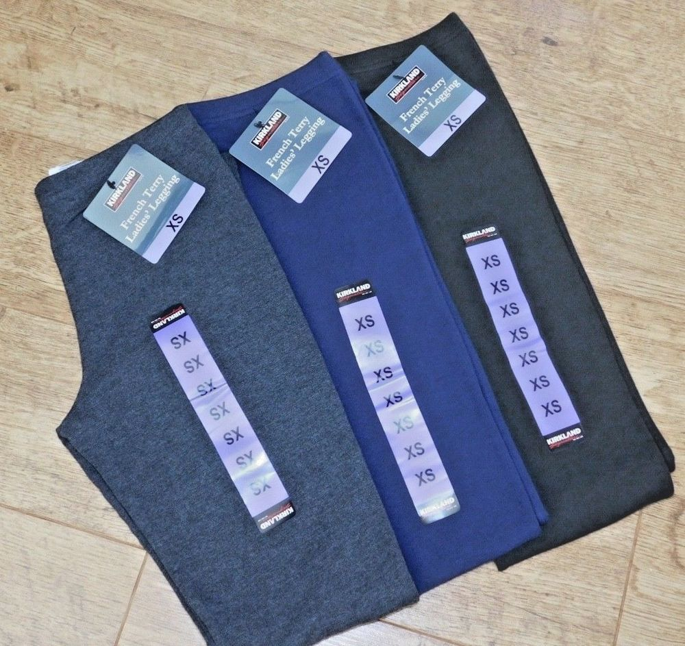 Kirkland Signature Ladies Quality French Terry Legging 3 Colours 2 Sizes Bnwt Legging Terry French Terry