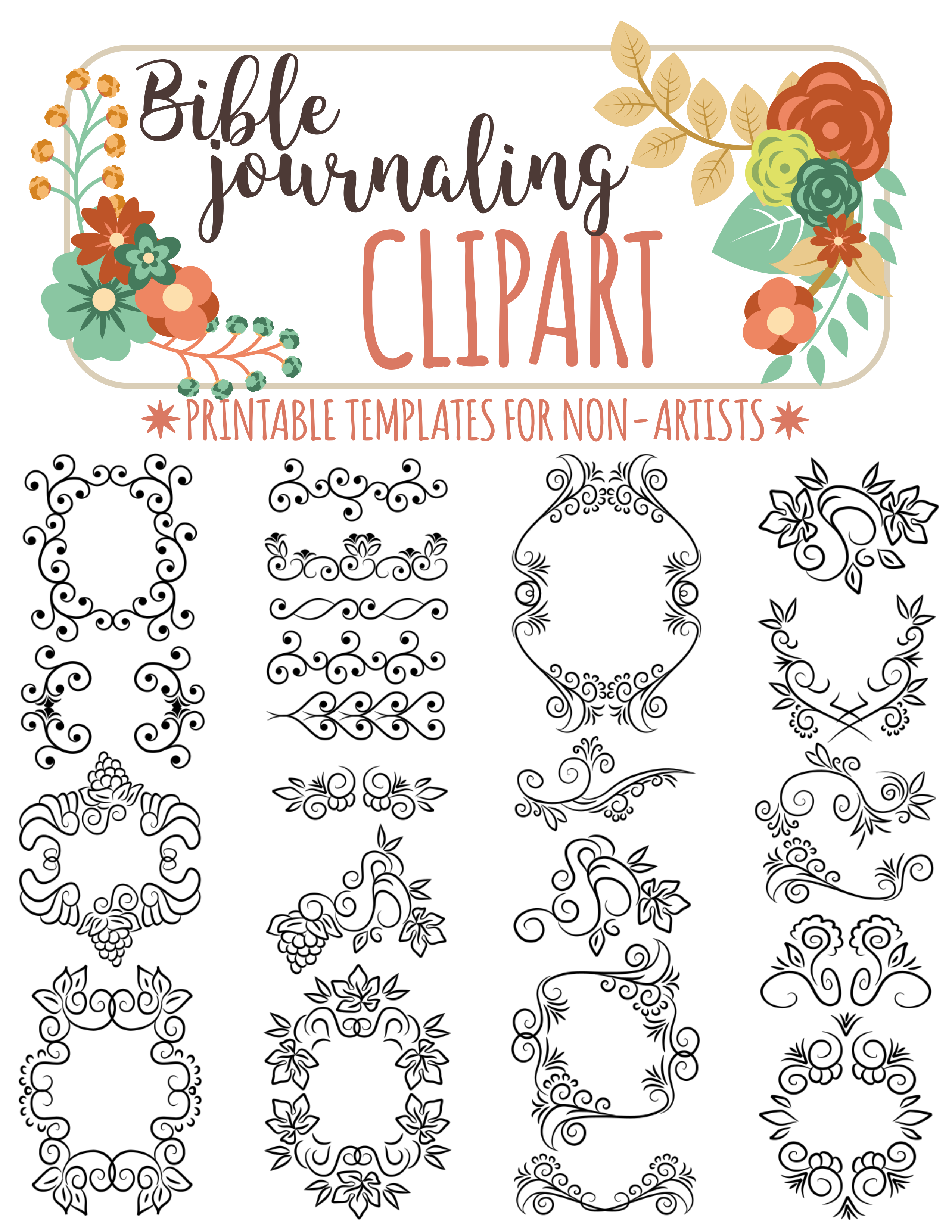 printable templates for bible journaling verse art illustrated