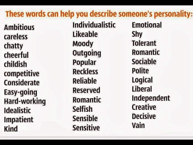 Adjectives To Describe Someone S Personality Learn English