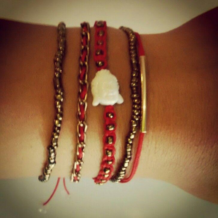 Bracelet #buddha #red&white