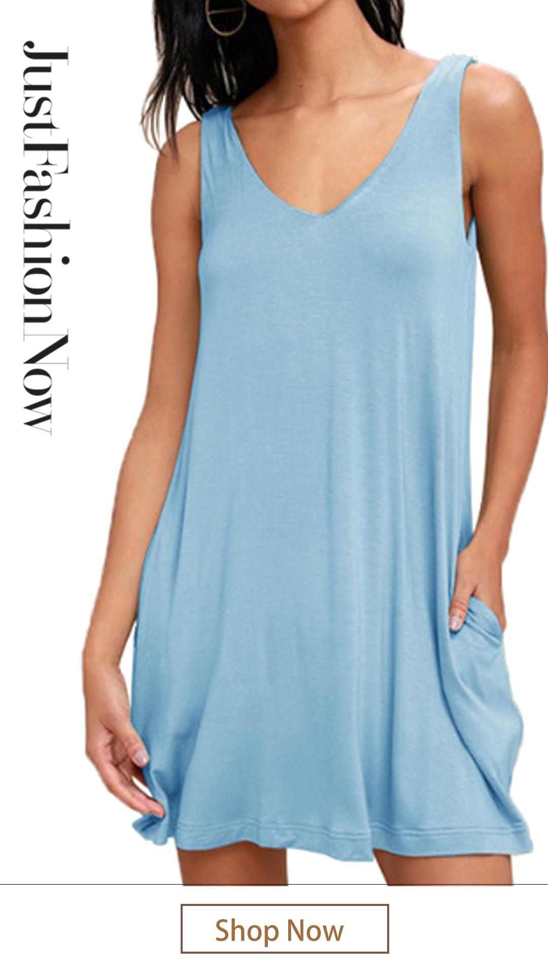 f4e7b00cf1 $16.89 Women Summer Casual T Shirt Dresses Beach Cover up Plain Pleated  Tank Dress