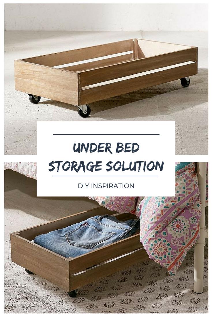 Under The Bed Rolling Wood Storage Box Under Bed Storage Bed Storage Diy Storage