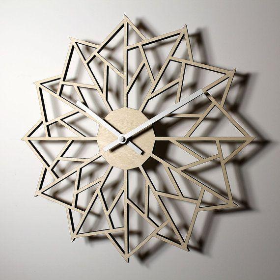 Pinwheel Laser Cut Wall Clock Housewarming Wedding Family