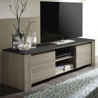 Meuble Tv Couleur Chene Gris Et Imitation Ardoise Contemporain Antole 2 L 181 X P 51 X H 56 Cm Meuble Tv En 2020 Meuble Tv Design Meuble Tv Meuble Tele Pas Cher