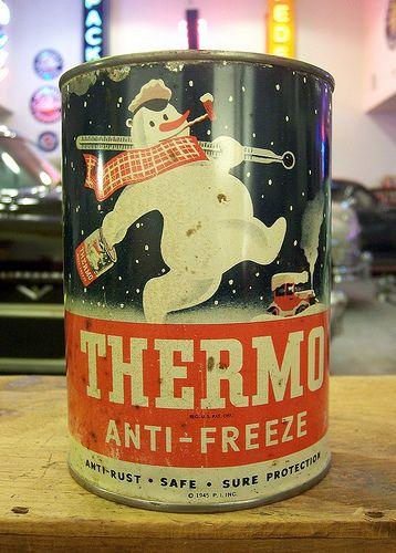 Great Snowman graphics onVintage Thermo Anti-Freeze can by Atomic Western.