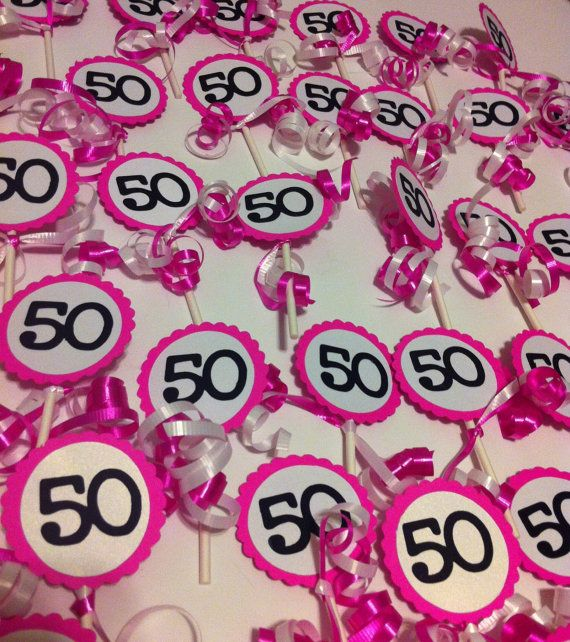 50th Birthday Decorations Cupcake Toppers by FromBeths on Etsy