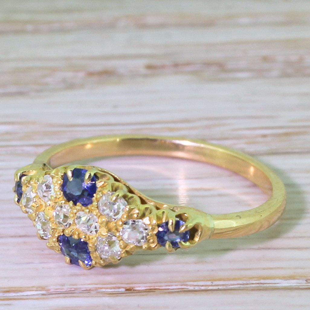 Edwardian Old Cut Diamond & Sapphire Cluster Ring, circa 1905 by GatsbyJewels on Etsy