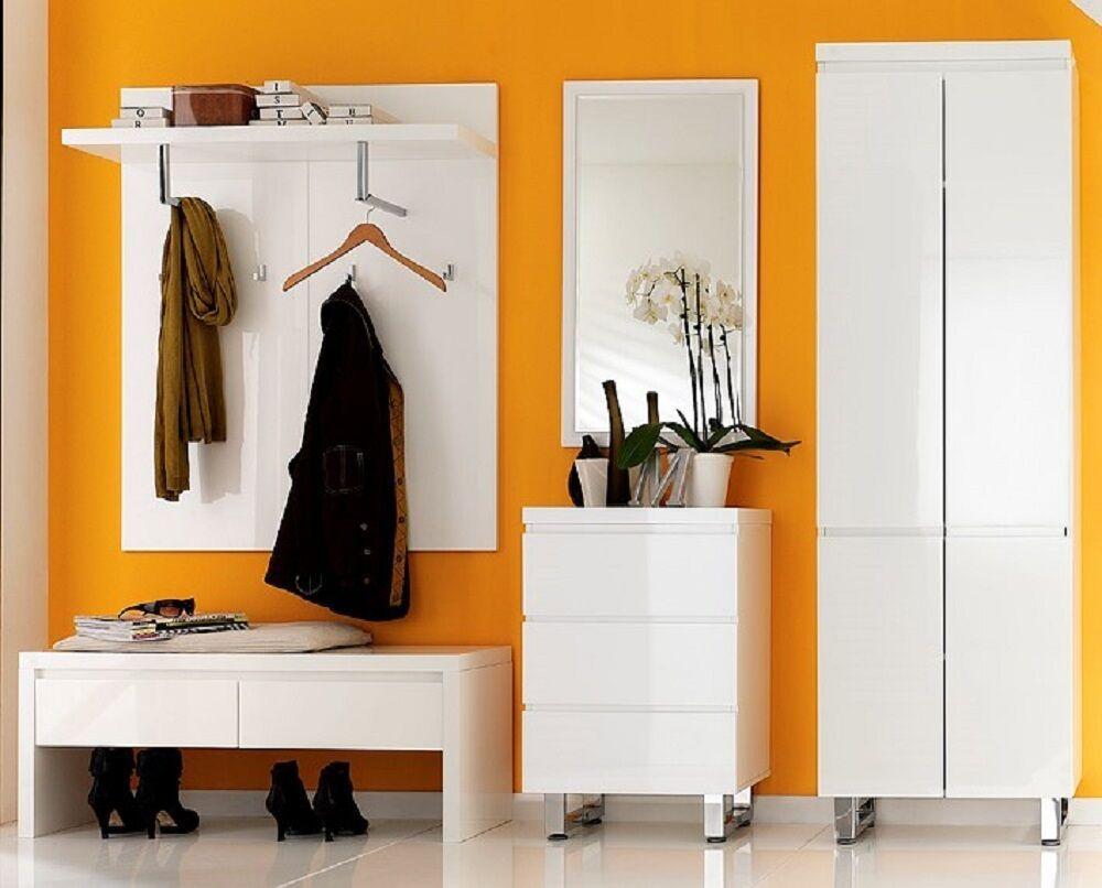 Garderobe 5 Tlg Set Flur Bank Kommode Wandpaneel Spiegel