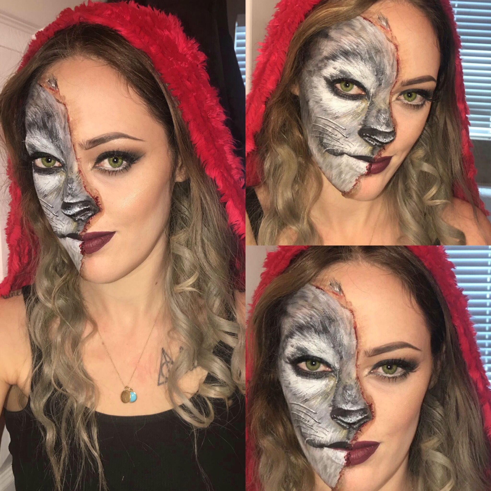 Little Red Riding Hood And The Big Bad Wolf Makeup And Facepaint Halloween Costumes Makeup Halloween Makeup Inspiration Halloween Makeup