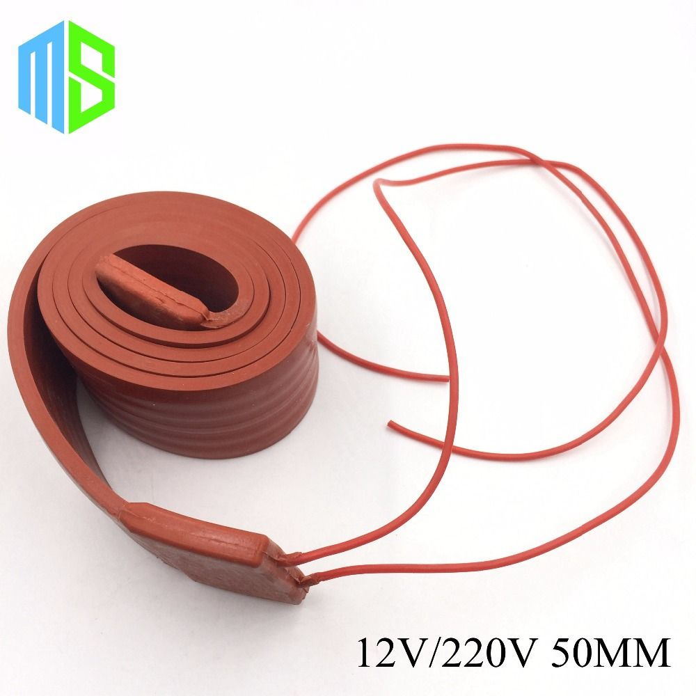 12v 220v 50mm Flexible Silicone Rubber Heating Cable Silica Gel Heater Trace Wire For Freeze Protection Water Freeze Protection Car Battery Golf Cart Batteries