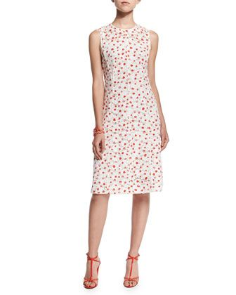 619b42e8a70e Sleeveless A-Line Dot-Print Silk Dress, Persimmon by Oscar de la Renta at Bergdorf  Goodman.