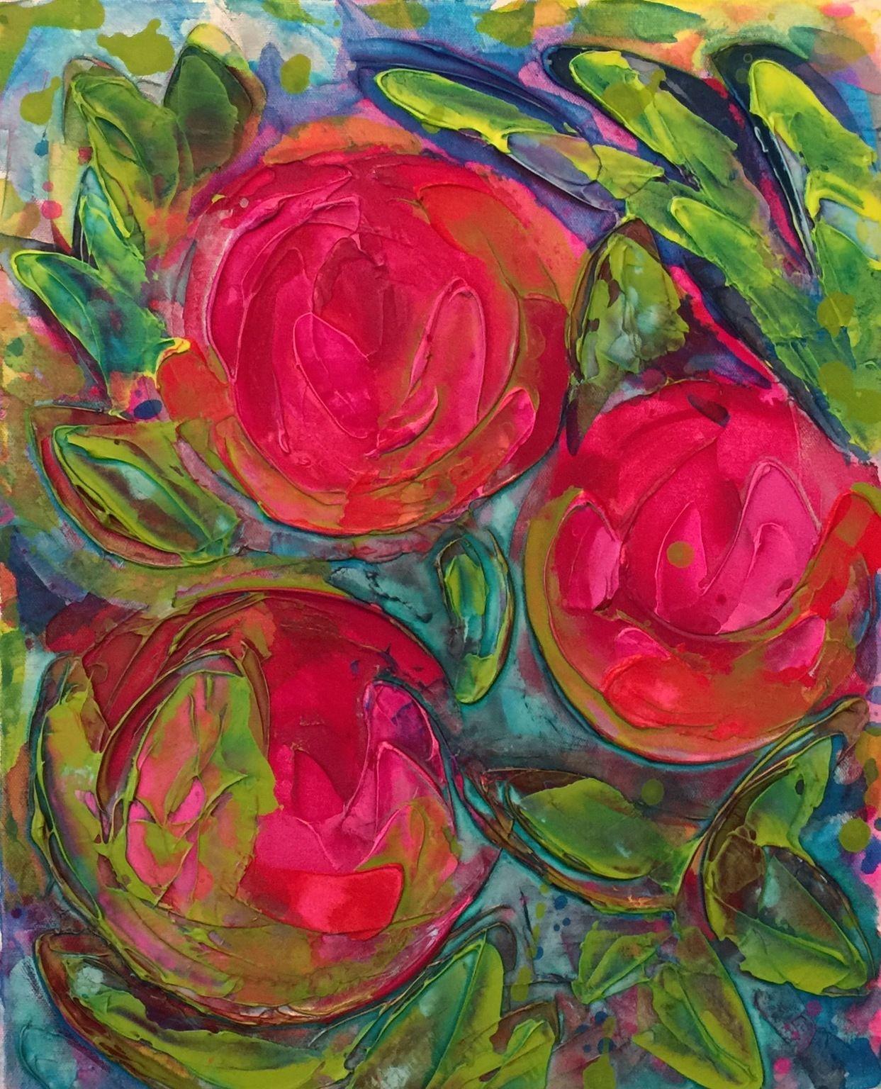 "'Peonies ' by Michael Bittle | $250 | 16""W x 20""H x 1.5""D | Original Art | http://vng.io/l/7mRCjEU9ZT @VangoArt"