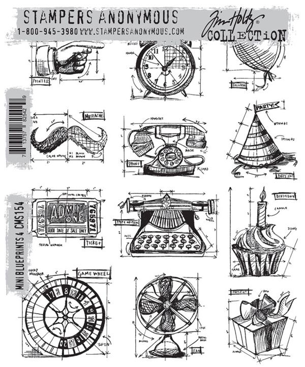 Stamperu0027s Anonymous Tim Holtz - Cling Mounted Rubber Stamp Set Mini - new blueprint program online