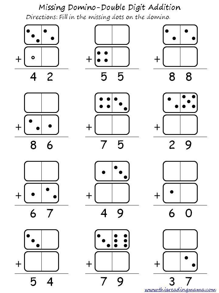Domino addition worksheet blank