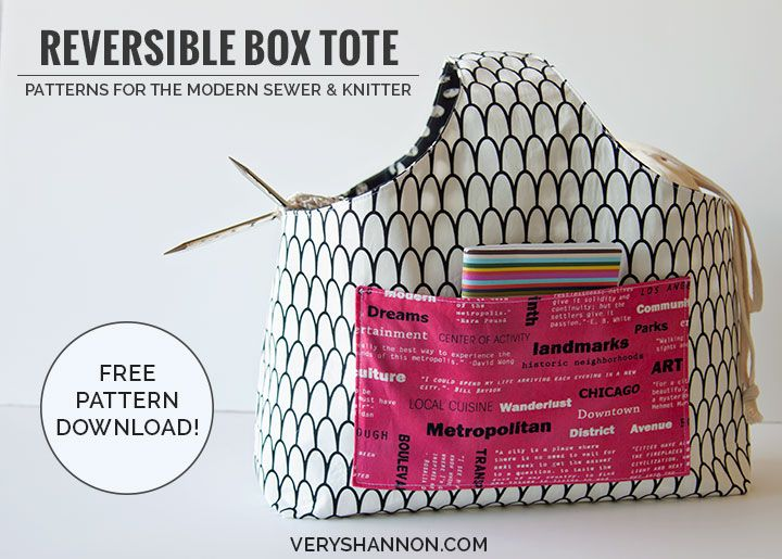 Reversible Box Tote Free Pattern Needle And Thread Pinterest