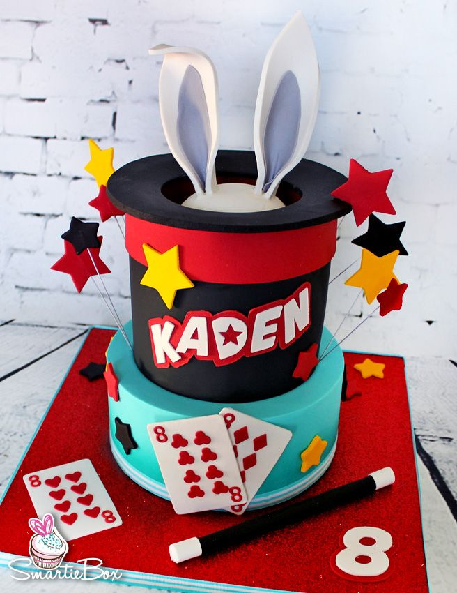 Astounding Magic Hat Cake With Top Hat Bunny Earrs Playing Cards And Stars Funny Birthday Cards Online Elaedamsfinfo