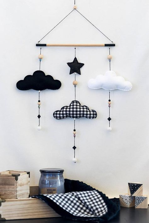 Photo of Monochrome Cloud Nursery Mobile / Black and White / Felt Mobile / Nursery Decor / Baby Room / Wall Decor