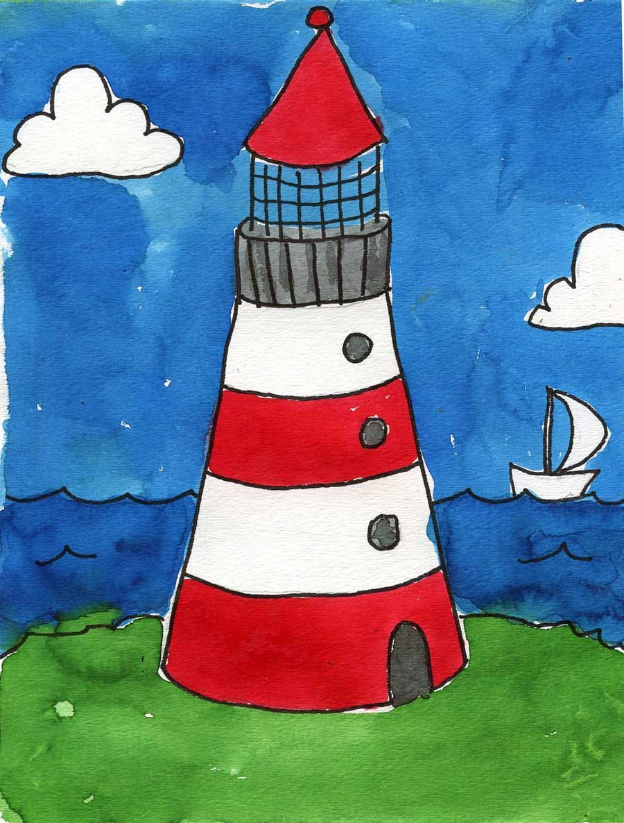 Watercolor books for kids - Art Projects For Kids Watercolor Lighthouse