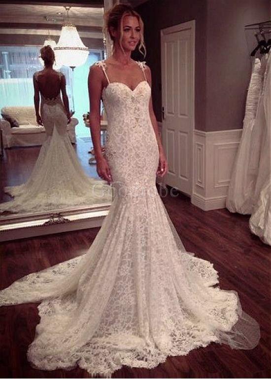 robe de mari e bretelles spaghetti naturel sirene d coration dentelle photo 1 wedding. Black Bedroom Furniture Sets. Home Design Ideas