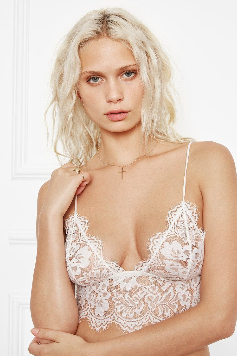 384c947992 FLORAL LACE BRALETTE - WHITE by ANINE BING