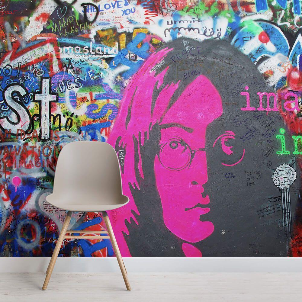John Lennon Imagine Wallpaper Mural Muralswallpaper Graffiti Wall Graffiti Wallpaper Graffiti