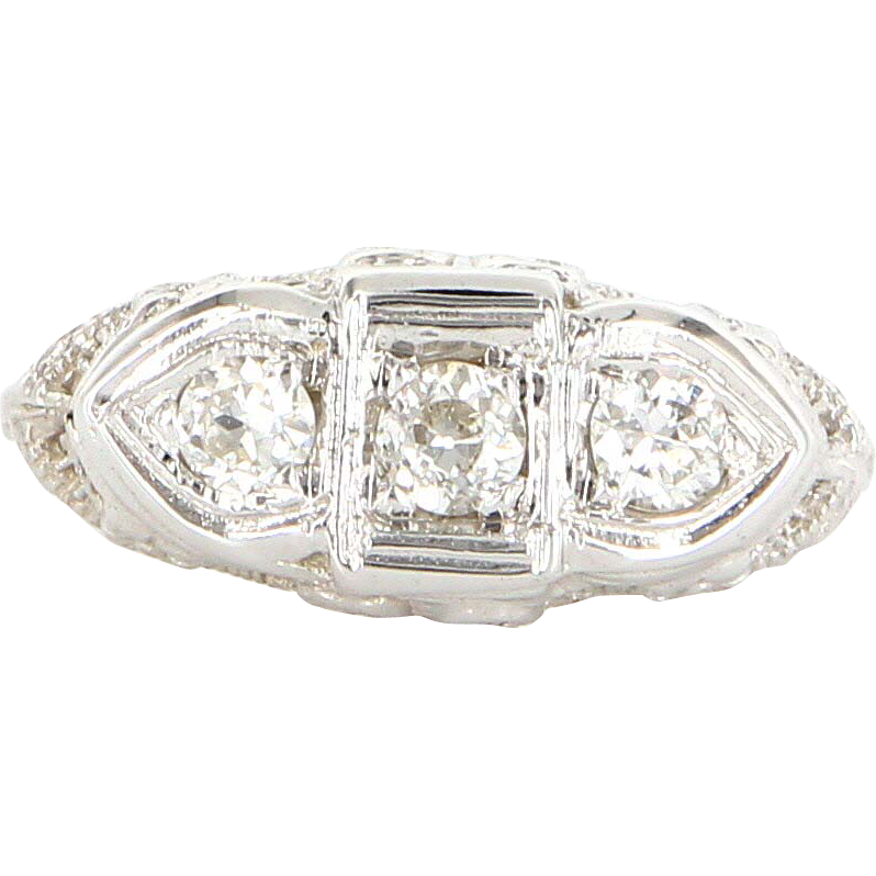 Antique 14K White Gold Filigree European Diamond Wedding Anniversary from valleyofjewels on Ruby Lane