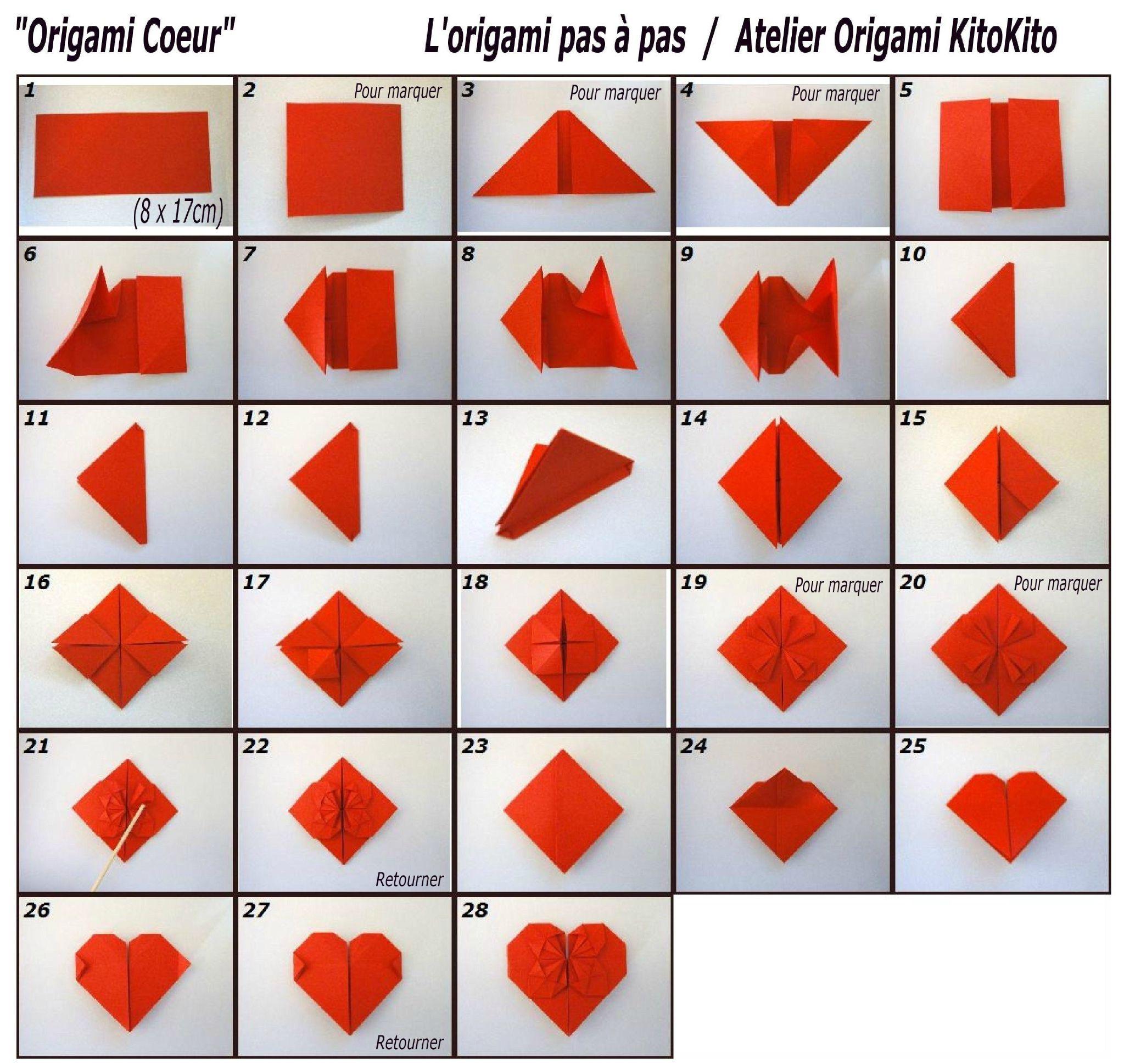 origami facile en coeur