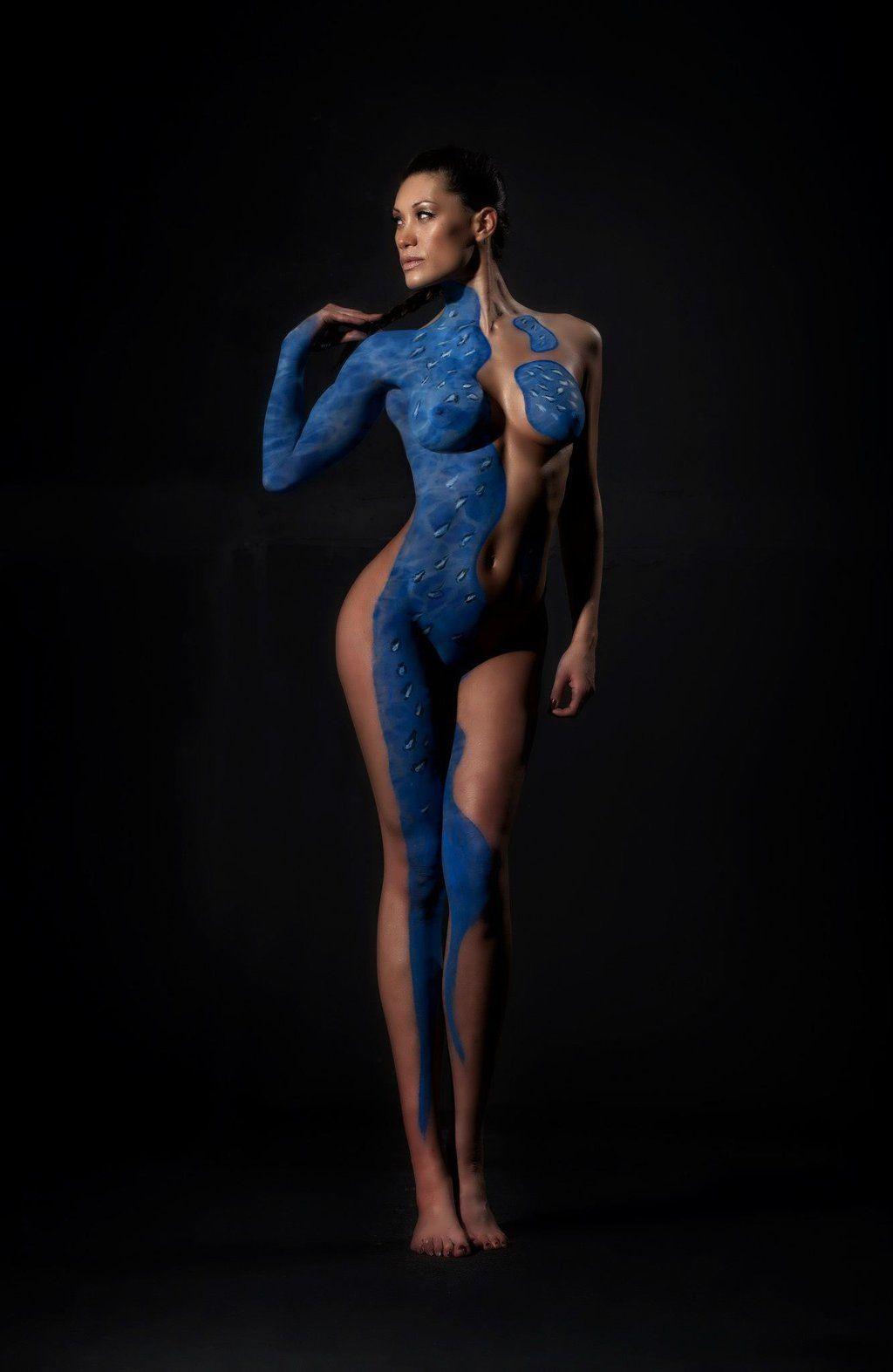 Blue body paint