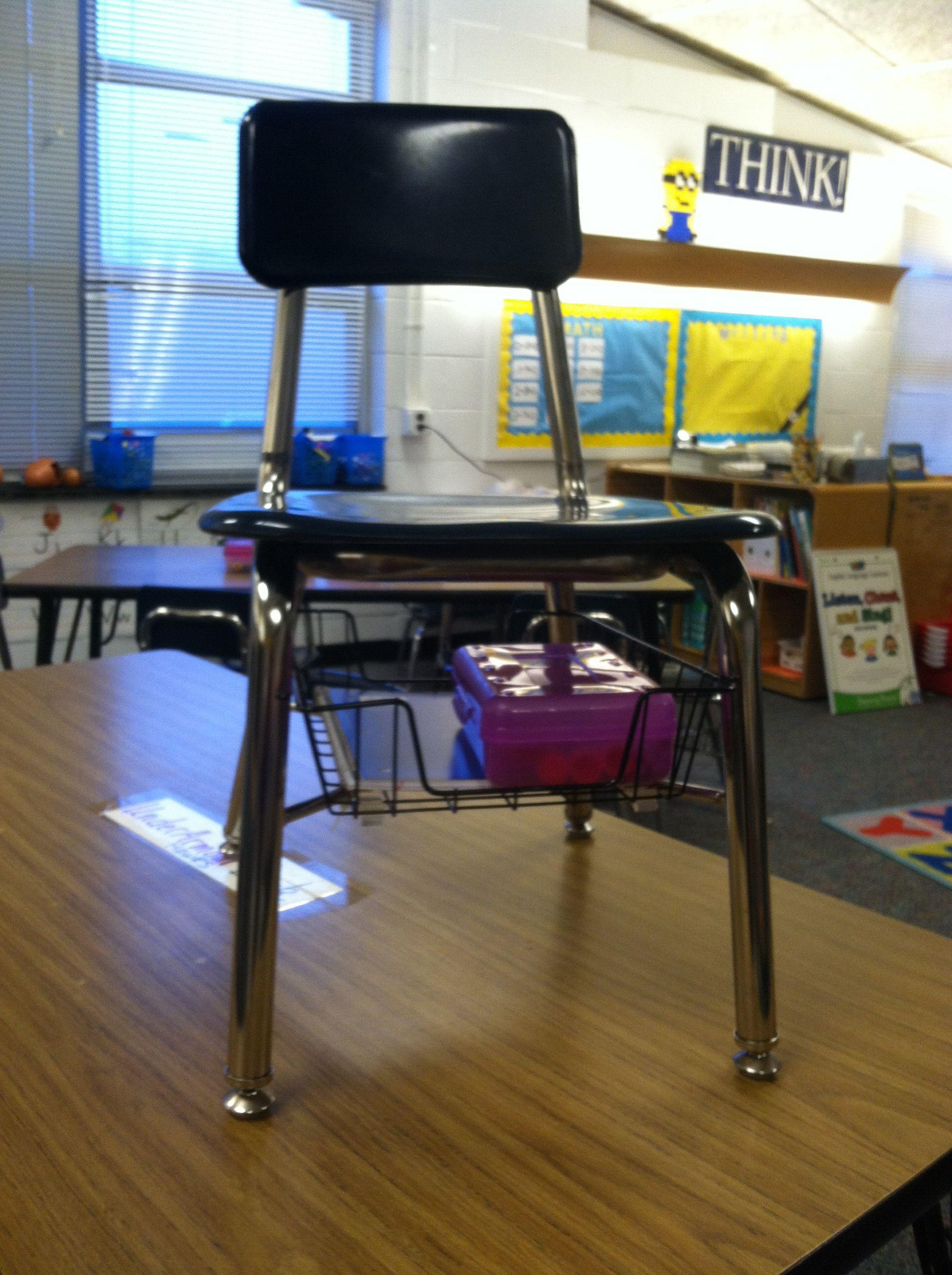 Clroom Under Chair Storage Standard Wire Paper Basket Zip Tied To The