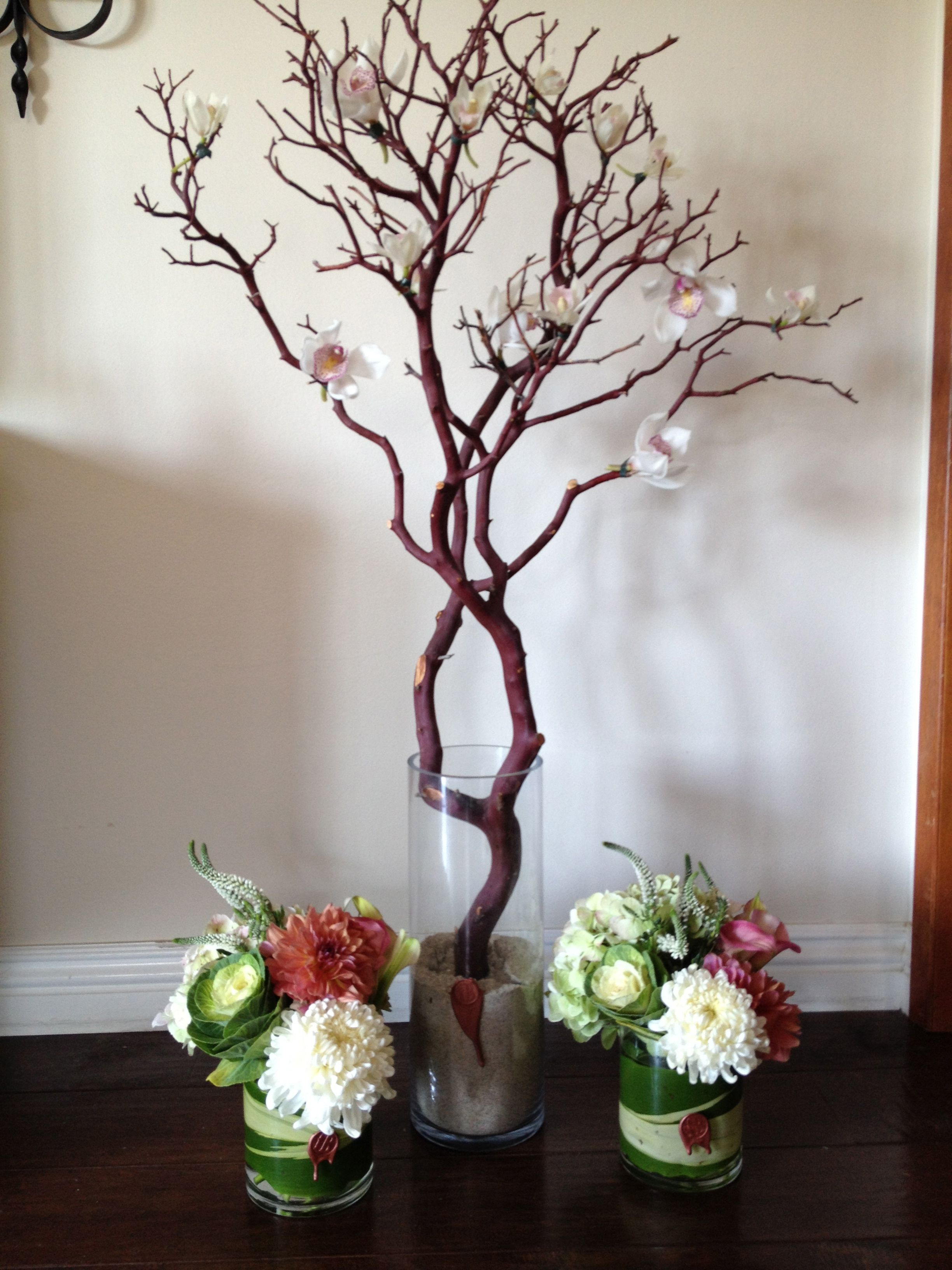 Manzanita Tree With Orchids And Centerpiece Arrangements