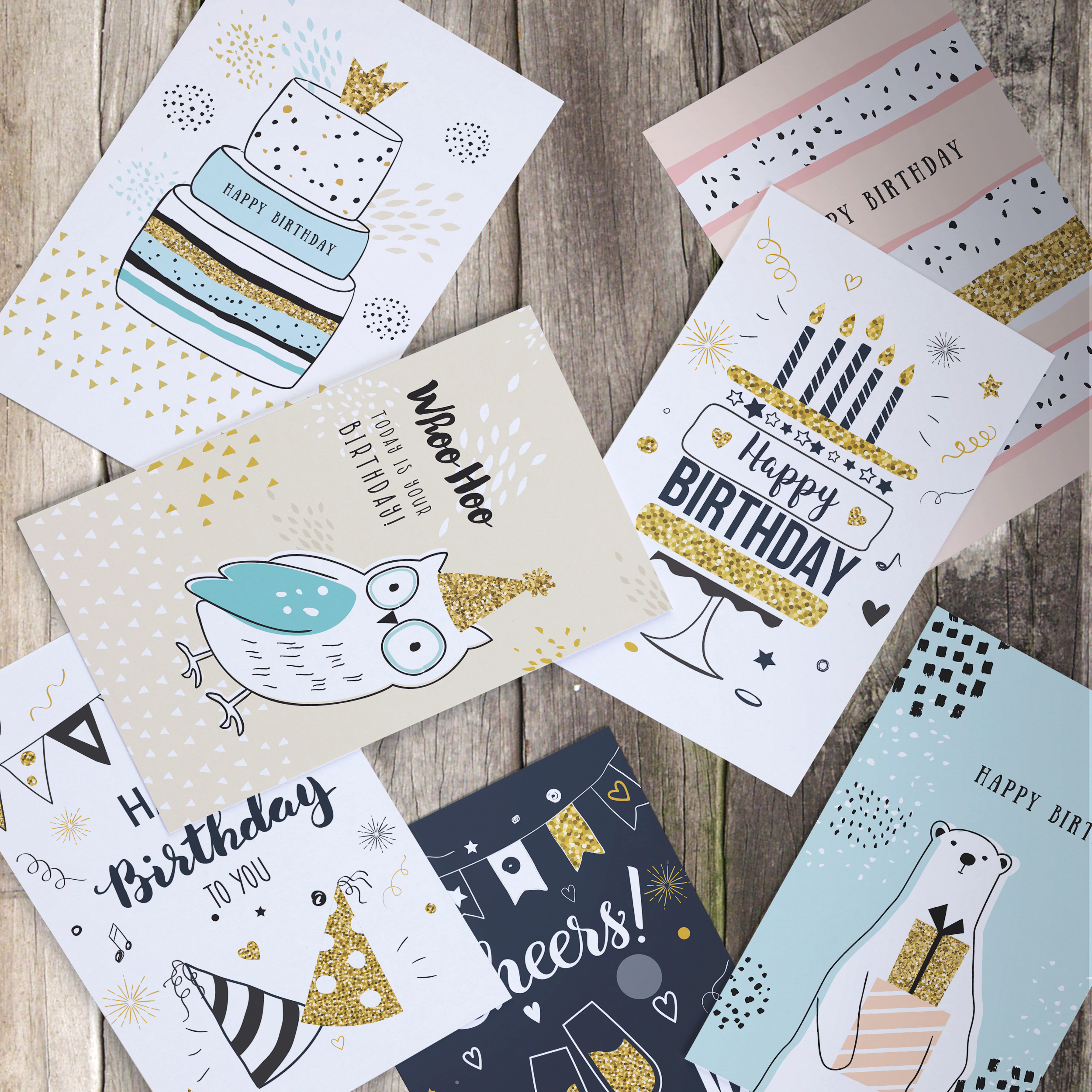 Happy Birthday Cards Assortment Bday Cards In Bulk 5x7 Assorted Variety Box Set 40 Pack Unique Designs Happy Birthday Cards Kids Birthday Cards Bday Cards