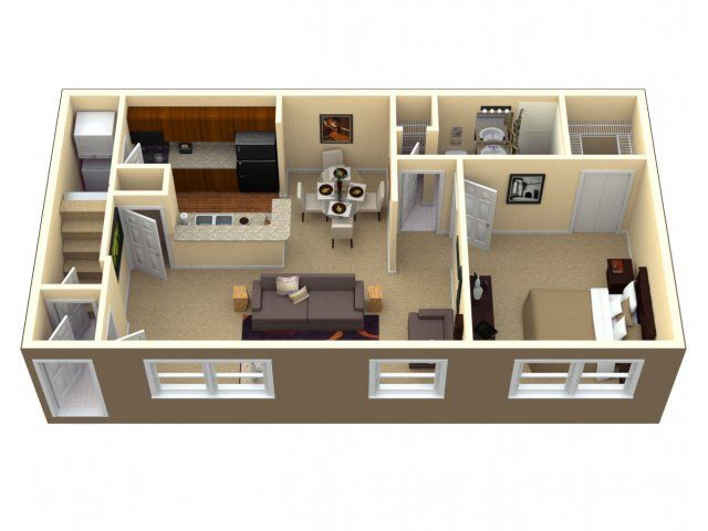 3d floor plan apartment google search small house plans pinterest apartments small. Black Bedroom Furniture Sets. Home Design Ideas