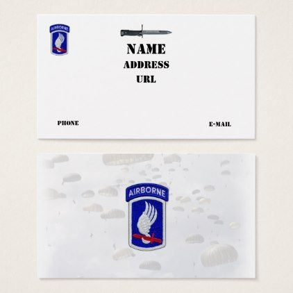 173rd abn bde airborne sky soldiers veterans vets business card 173rd abn bde airborne sky soldiers veterans vets business card office gifts reheart Image collections