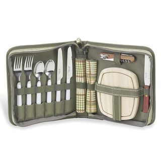 Love, al fresco.  Enjoy the perfect picnic for two with our deluxe travel picnic set that includes stainless steel flatware, napkins, a hardwood cutting board, cheese knife and corkscrew packed in a convenient travel case. Everything you need for a romantic day in the park!