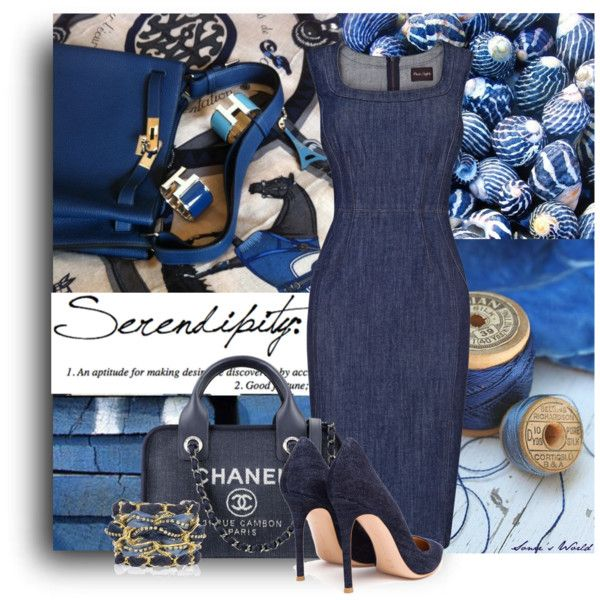 Classic Denim by sonies-world on Polyvore featuring moda, Phase Eight, Gianvito Rossi, Rachel Leigh, Chanel, bleu and Luli