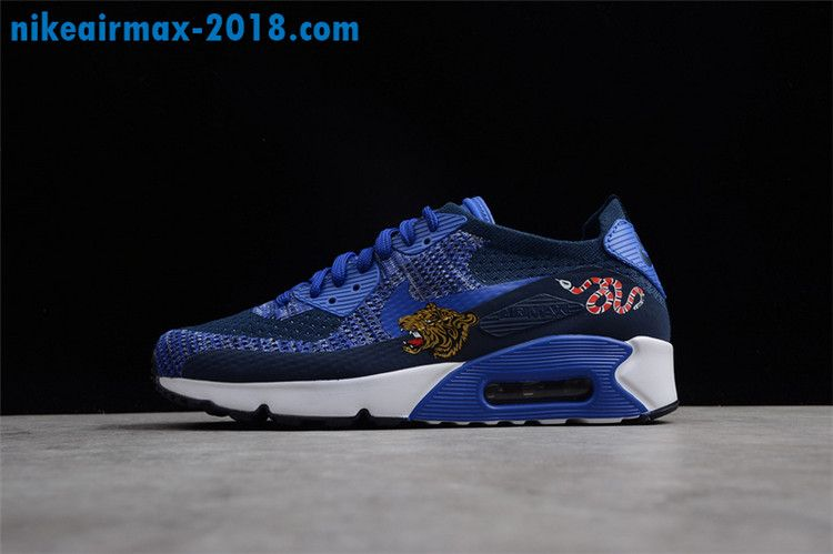 e16e4c1b0b6f Nike Air Max 90 Ultra 2.0 Flyknit College Navy Paramount Blue For Sale