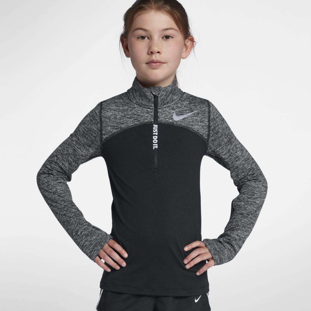 6bf2d1923 Nike Dri-FIT Element Big Kids' (Girls') Half-Zip Running Top Size L (Black)
