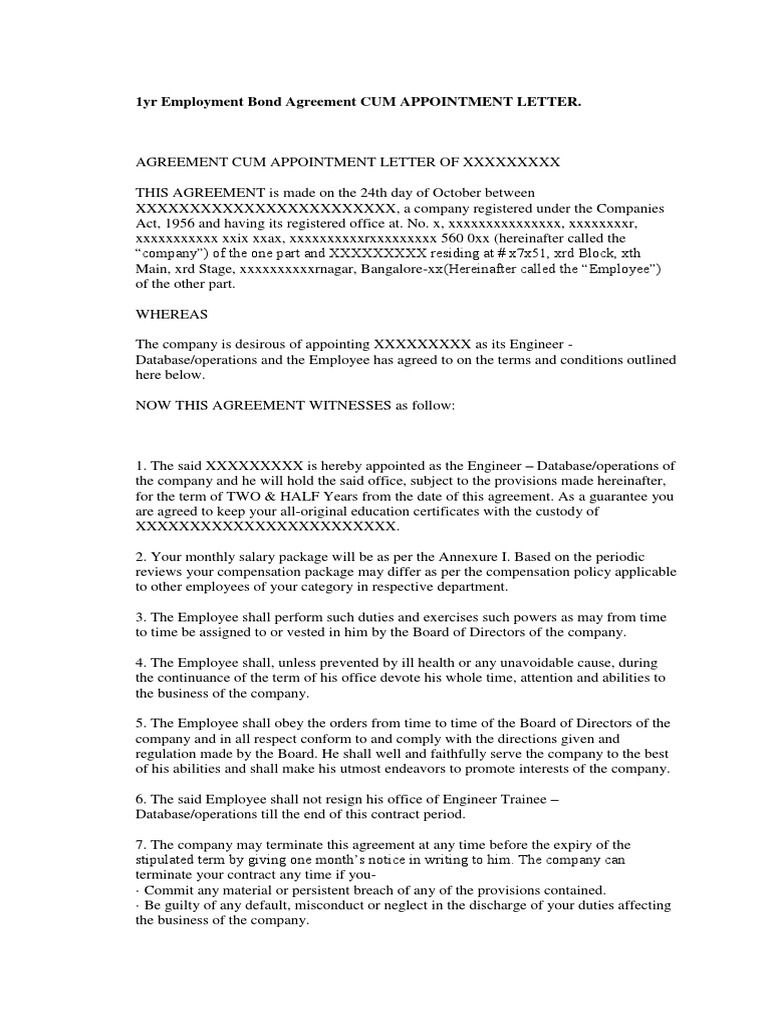 Employment Bond Agreement Cum Appointment Letter Board Directors