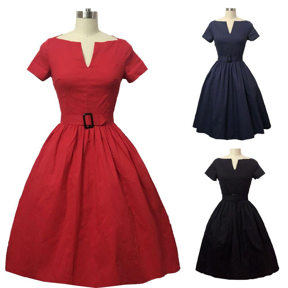 Women us s vintage style evening dress rockabilly swing casual